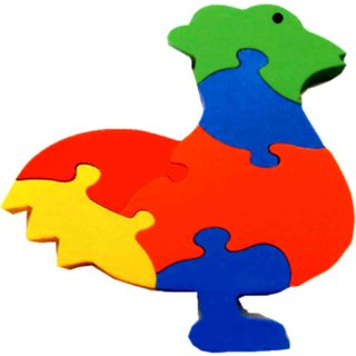 Learners Play Cock Jigsaw Puzzle-Colored