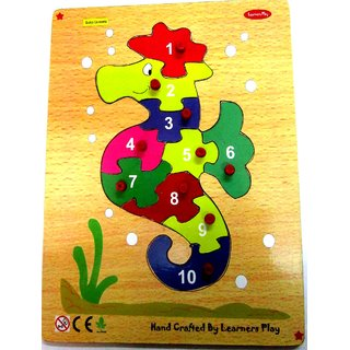 Learners Play Counting On Boat 0-9 Puzzle ( Knob ) Size 9x12