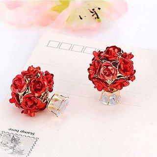 Metallic Rose Earrings