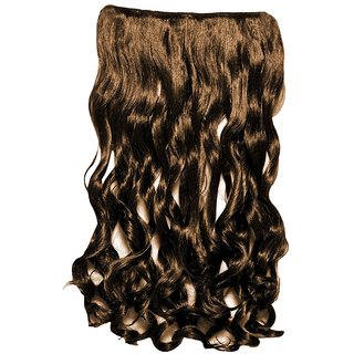 Homeoculture Curly Synthetic 18 inch 5 Clip Pin Brown curly Hair Extension