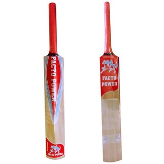 Facto Power Kashmir Willow With Half Cane Handle Cricket Bat - (Size  6)(Appropriate For Rubber And Tennis Ball) (Model  2828)
