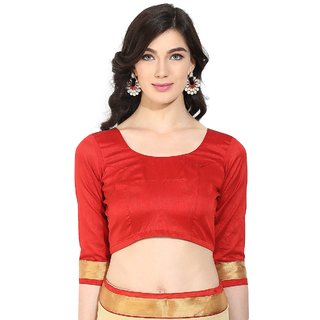 Triveni Beautiful Red Art Silk Readymade Blouse With Backstring and Latkan 091A S34