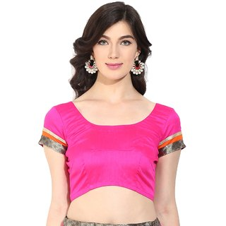 Triveni Charming Magenta Art Silk Readymade Blouse With Backstring and Latkan 092A S30