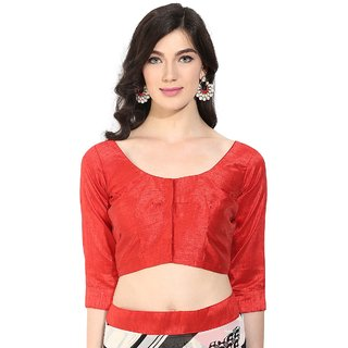 Triveni Elegant Red Art Silk Readymade Blouse With Backstring and Latkan 093C S30
