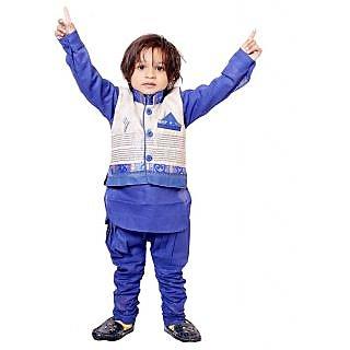Kids Kurta Pyjama Waistcoat Set for Boys