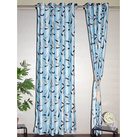 Homelife Blue Eyelet Style Door Polyester Curtains