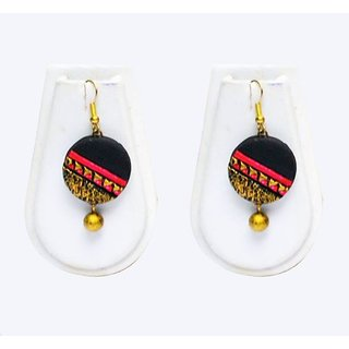 Terracotta-Circle shaped golden and black Earrings