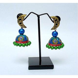 Terracotta-Peacock designed Jhumkas