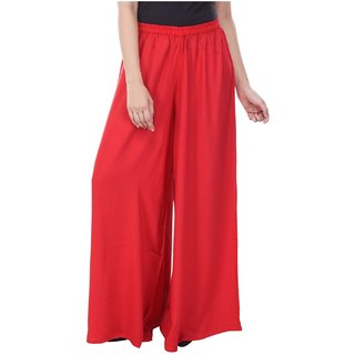 Mystique India Red Rayon Palazzo Pant for Women