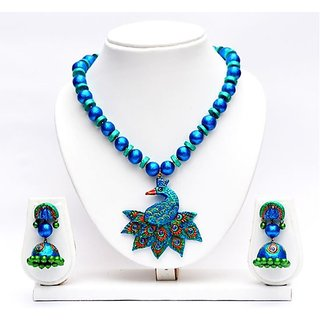 Terracotta-Peacock model Pendants and Necklace with Jhumkas