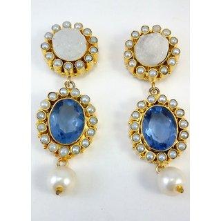 Iolite-Titunium Druzy Stunning Fashion Jewelry Handmade Earrings