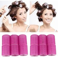 Voberry New Arrival 12 X Large Velcro Cling Rollers Curlers Hair Style Salon Diy 4.9cm Diameter Color May Vary