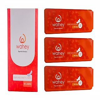 Wahey Combo Pack Of Perfumed Panty Liners (50 Liners) And Extra Long (XL) Size Sanitary Pads With Wings (Pack Of 3)