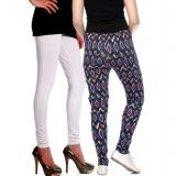 Vvoguish Printed And Plain Legging Combo