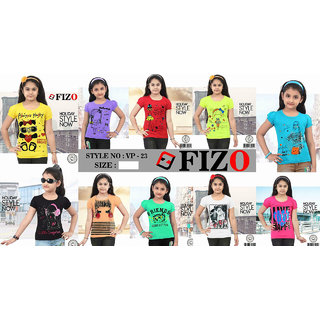 Pack of 10 Girls T Shirts/Tops - Half Sleeve