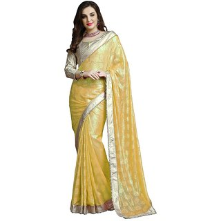 Chigy Whigy Yellow Jacquard  party wear Sarees