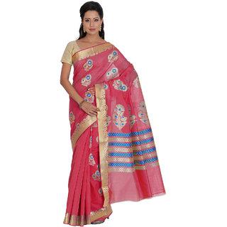 Platinum Present Pink Color Zari Work Kosa Silk Saree with Blouse Piece.