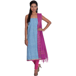 Platinum Present Cotton Women's Salwar Suit Dress Material stripes with Zari Border