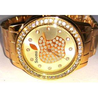 Big Round American Diamond Studded Rose Gold Women's Wrist Watch-Apple