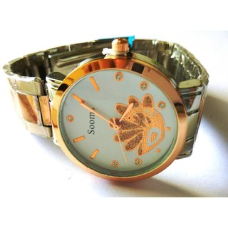 Round Dial, Copper  Silver Polish, Peacock design Women's Wrist Watch