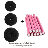 Homeoculture Pack Of 3 Hair Donuts  All 3 Different Sizes + 10 Pieces Self Holding Hair Curling Flexi Rods Hair Pin