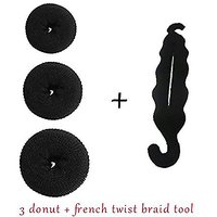 Ngbun New Homeoculture Pack Of 3 Hair Donuts  All 3 Different Sizes +Magic Hair Styling Twist Styling Bun Hairpins Hair