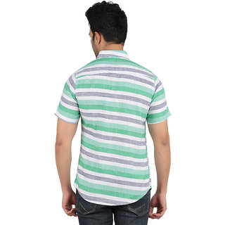 ANYTIME Men's Green and White Color Half sleeve Casual Shirt