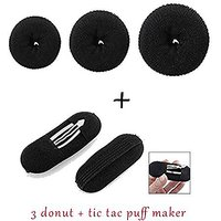 Homeoculture Pack Of 3 Hair Donuts All 3 Different Sizes + 2 Pcs Black Sponge Hair Clip Volume Bumpit Padding Bun Updo
