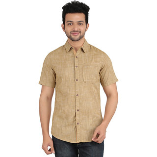 ANYTIME Men's Dark ivory Color Half sleeve Casual Shirt