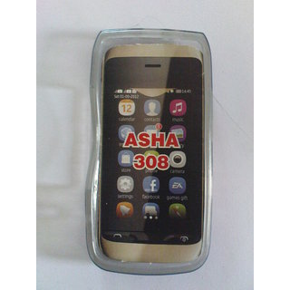 Nokia Asha 308 Touch Screen Mobile Soft Jelly Silicone Back Cover Case Pouch
