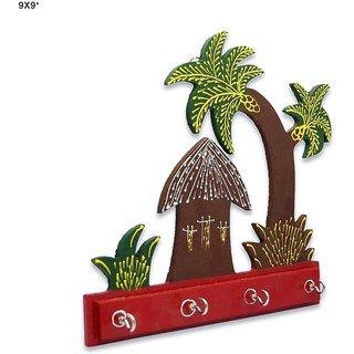 Kamakshi Wooden Key Holder with four hooks