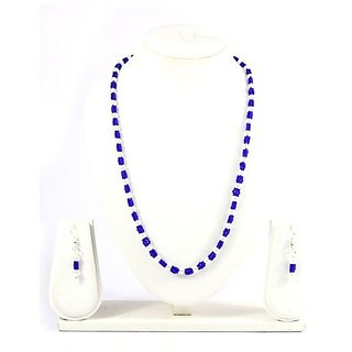 Fancy Jewels-Dark Blue & white coloured Necklace with Earrings