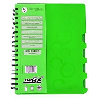 Notex Neon Series 5 Subjects Notebook-Green