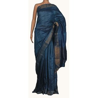 Pure Linen By Linen With Block Print Blue Sarees