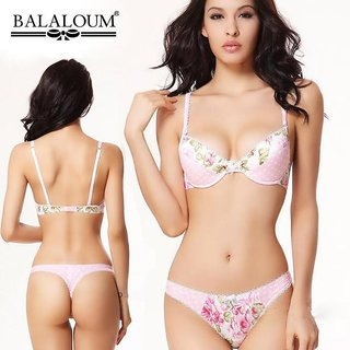 Beautiful Bra Panty Set With Pink Colour