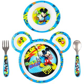 The First Years Mickey Feeding Set Polypro with Easy Grasp Flatware, Pack of 3 (Multicolor)
