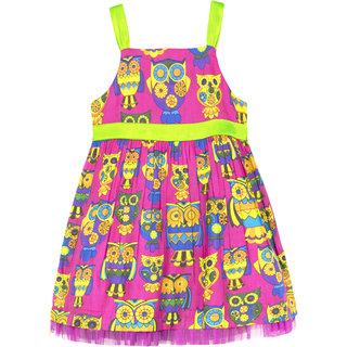 Caca Cina Girls' Owl Print Cotton Dress