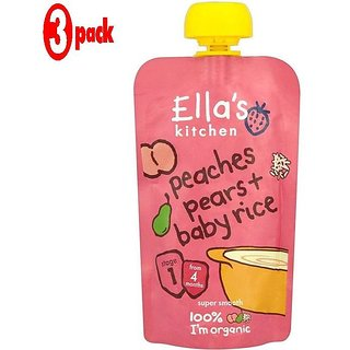 Ella's Kitchen Peaches, Pears & Baby Rice (4m+) - 120G (Pack of 3)