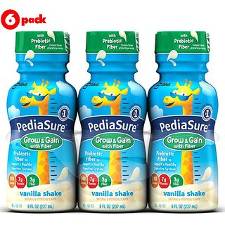 Pediasure Grow & Gain with Fibre 237ml (8oz) - Vanilla Shake (Pack of 6)