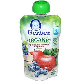 Gerber 2nd Foods 99G (3.5oz) - Organic Apples Blueberries & Spinach