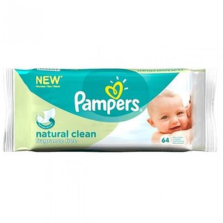 Pampers Baby Wipes 64Pc - Natural Clean (Imp)