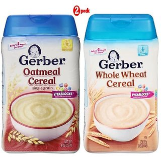 Gerber Cereal Combo 227G (8oz) (Pack of 2) - Oatmeal Cereal + Whole Wheat Cereal