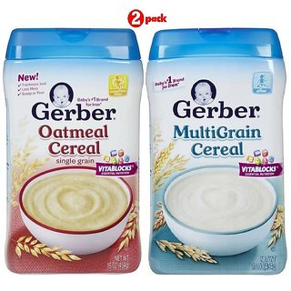 Gerber Cereal Combo 454G (16oz) (Pack of 2) - Oatmeal Cereal + Multigrain Cereal