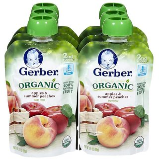 Gerber 2nd Foods 99G (3.5oz) - Organic Apples & Summer Peaches (Pack of 6)