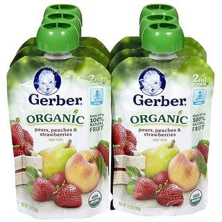 Gerber 2nd Foods 99G (3.5oz) - Organic Pears Peach & Strawberries