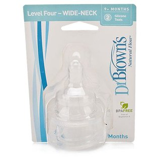 Dr Browns Natural Flow Nipple Wide-Neck Level 4 (2Pk) (9m+) - 0367