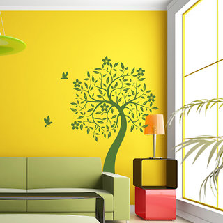 Blooms and Leaf Wall Decal