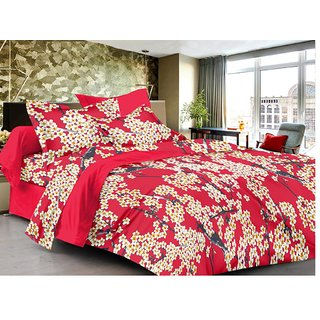 Lali Prints Red Designer Premium Pattern 100% Cotton 1 Double Bedsheet with 2 Pillow Covers