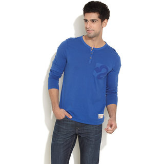 Republic Of Spiel Full Sleeve Henley With Pocket (Dark Blue)