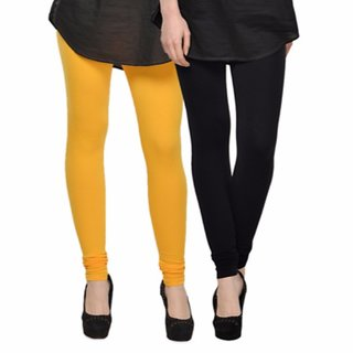 Vnu Yellow And Black Cotton Leggings Set Of 2